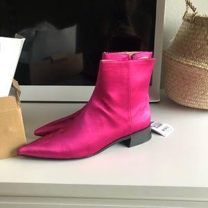 Zara Fuschia Satin Ankle Boots